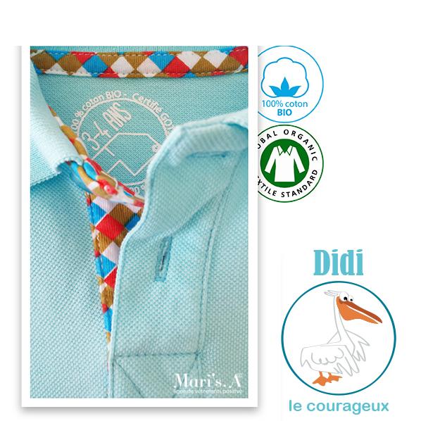 Polo bleu coton bio